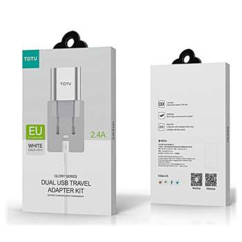 TOTU DESIGN DUAL USB TRAVEL ADAPTER+TYPE-C CABLE